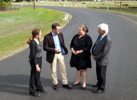 Lila Fisher, Moree Shire Council's Project & Development manager; Theo Tzannes, councillor; Renee McMillan, MSC road safety officer, and Adam Marshall inspect the Mosquito Creek road at Pallamallwa.