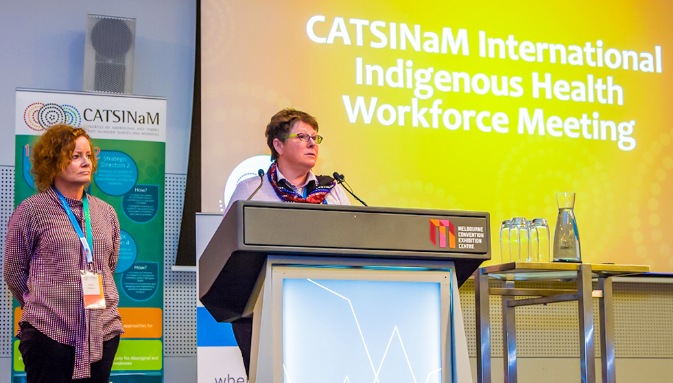 karel-williams-and-ann-kinnear-launching-the-birthing-on-country-program-at-the-catsinam-international-indigenous-health-workforce-photograph-by-wirrim-media-2