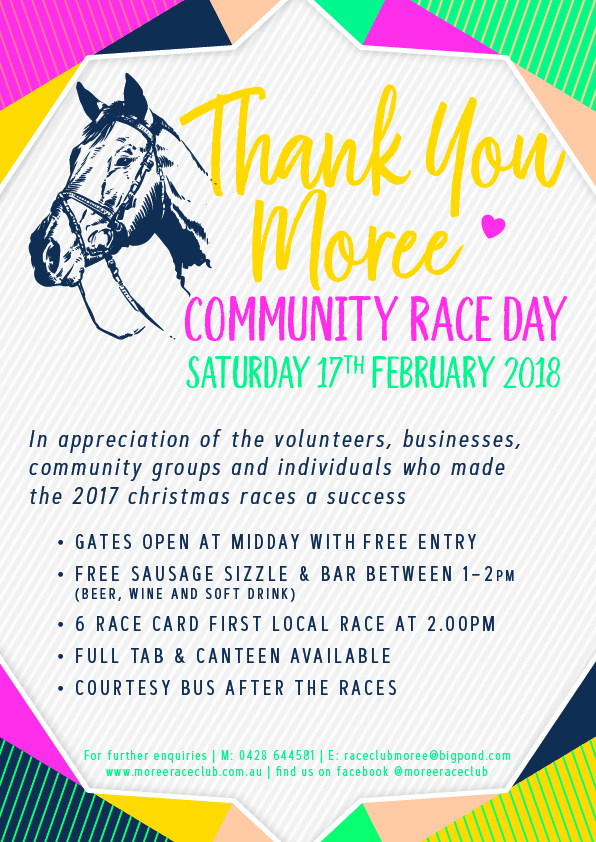 Moree Race Club Thank You Moree Community Race Day Poster
